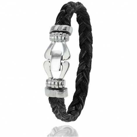 Bracelet en Crin de cheval, acier et or 0.35g Tamara -F501PCHNORblanc