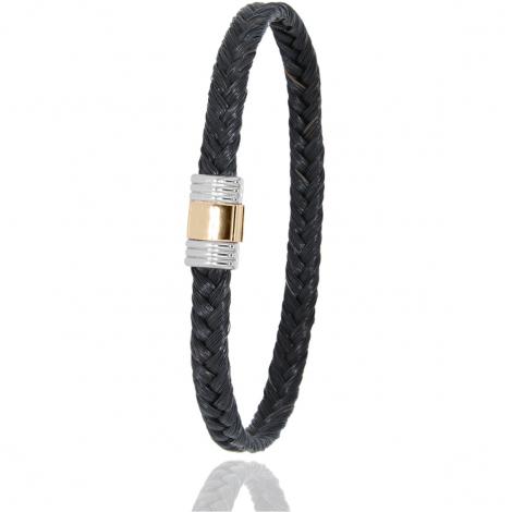 Bracelet en Crin de cheval, acier et or 0.42g Clémence -614CHNORrose