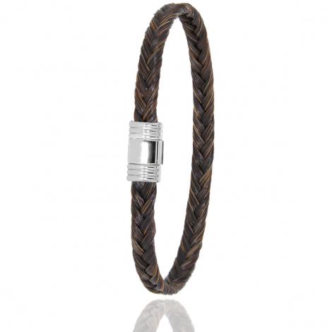 Bracelet en Crin de cheval, acier et or 0.42g lauraline -614CHMORblanc