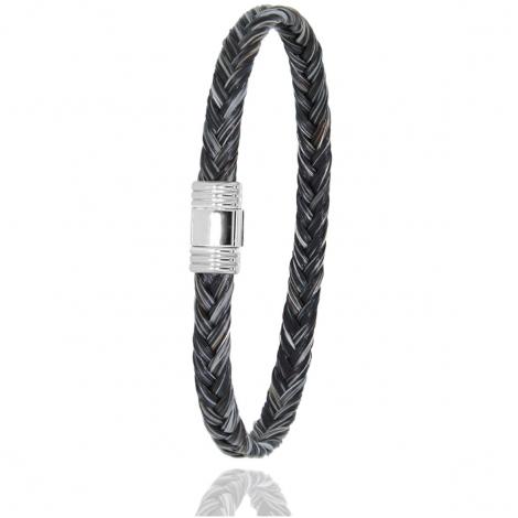 Bracelet en Crin de cheval, acier et or 0.42g Nadya -614CHGFORblanc