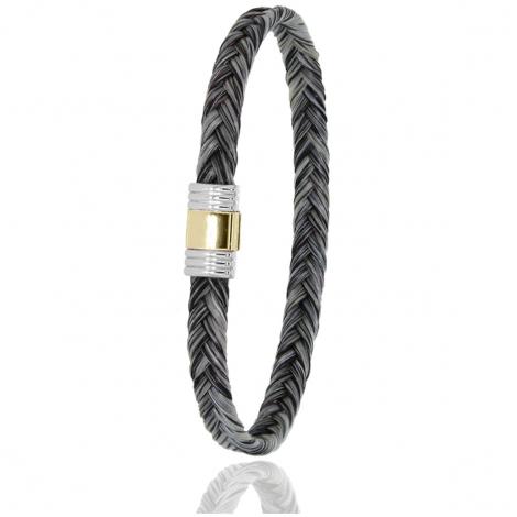 Bracelet en Crin de cheval, acier et or 0.42g Rhéa -614CHGCORjaune