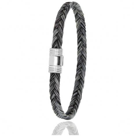 Bracelet en Crin de cheval, acier et or 0.42g Thalicia -614CHGCORblanc