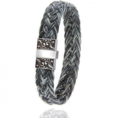 Bracelet en Crin de cheval, acier et or 0.45g Enora -604-2CHGFGRorblanc