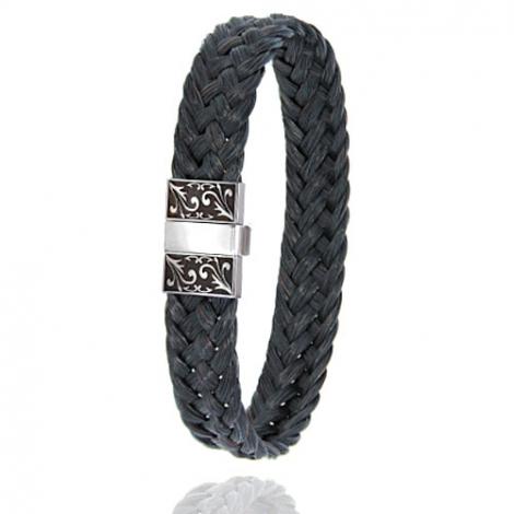 Bracelet en Crin de cheval, acier et or 0.45g Lise -604-2NCHNGRorblanc