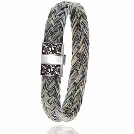 Bracelet en Crin de cheval, acier et or 0.45g Marie -604-2CHGCGRorblanc
