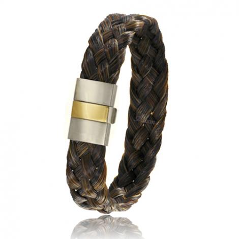Bracelet en Crin de cheval, acier et or 0.45g Marjolaine -604-2CHM