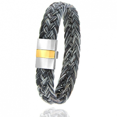 Bracelet en Crin de cheval, acier et or 0.45g Marylène -604-2CHGFORjaune