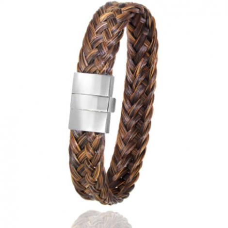 Bracelet en Crin de cheval, acier et or 0.45g Natsumi -604P-2CHMorblanc