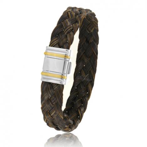 Bracelet en Crin de cheval, acier et or 0.45g Nolwenn -Albanu 698CHM0R
