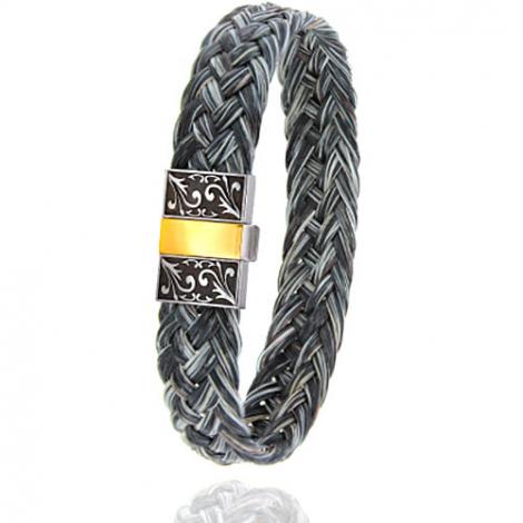 Bracelet en Crin de cheval, acier et or 0.45g Océania -604-2CHGFGRorjaune