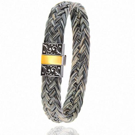 Bracelet en Crin de cheval, acier et or 0.45g Rosalina -604-2CHGCGRorjaune