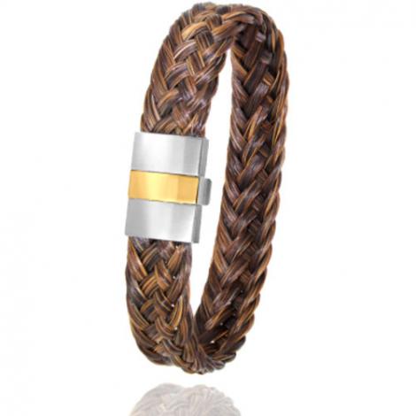 Bracelet en Crin de cheval, acier et or 0.45g Splendeur -604P-2CHMorjaune
