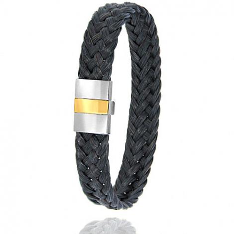 Bracelet en Crin de cheval, acier et or 0.45g Taranis -604-2CHNorjaune