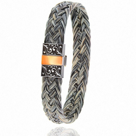 Bracelet en Crin de cheval, acier et or 0.45g Vanira -604-2CHGCGRorrose