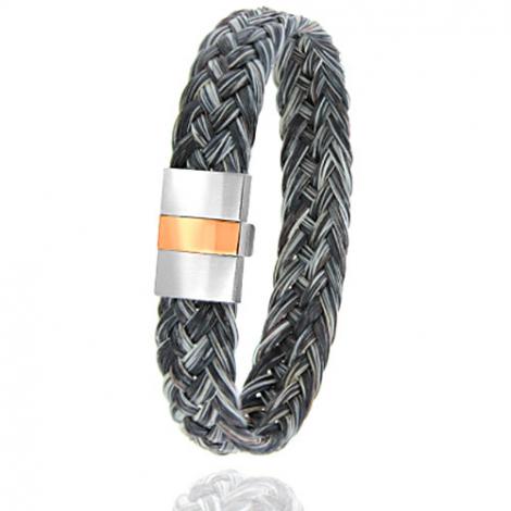 Bracelet en Crin de cheval, acier et or 0.45g Yuki -604-2CHGFORrose