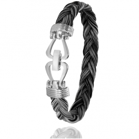 Bracelet en Crin de cheval, acier et or 11g Rosalyn -730CHGFORblanc