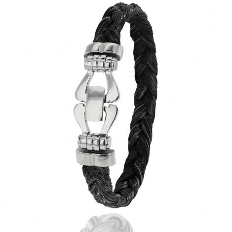 Bracelet en Crin de cheval et acier g Charlotte - F500PCHNAC