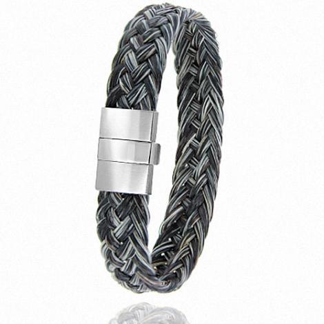 Bracelet en Crin de cheval et acier g Dorothée -604CHGFAC