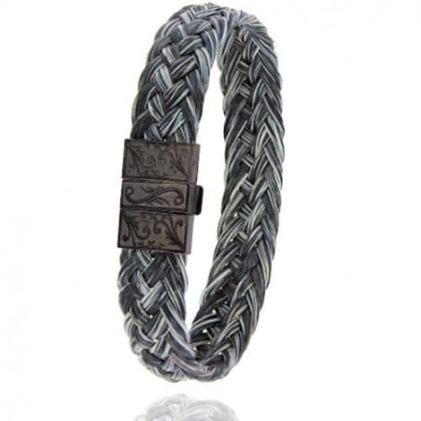 Bracelet en Crin de cheval et acier g Jade -604NCHGFGR