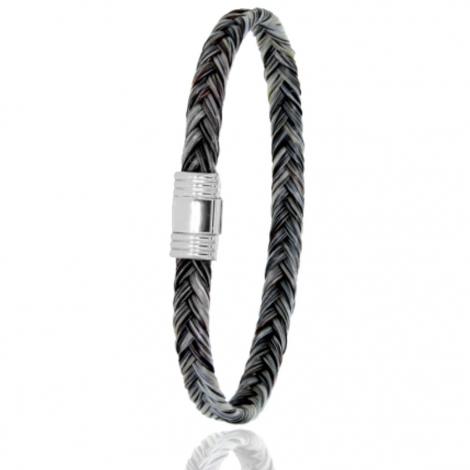 Bracelet en Crin de cheval et acier g Koémi -608CHGCAC