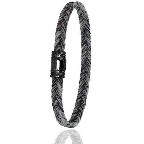 Bracelet en Crin de cheval et acier g Vainia -608NCHGCAC