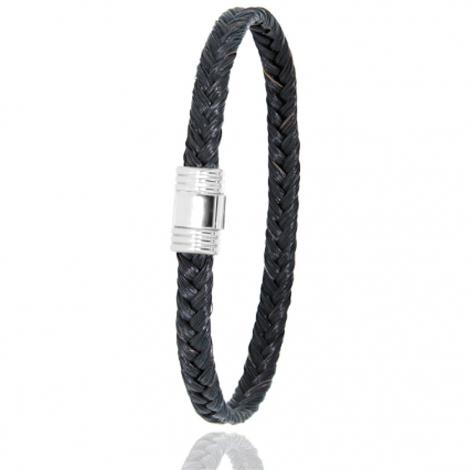 Bracelet en Crin de cheval et or  5g Floralie -608CHNORblanc