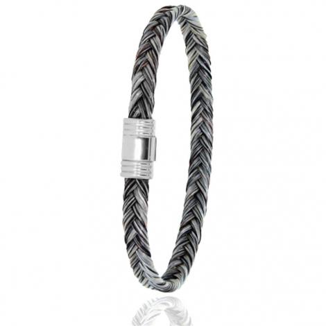 Bracelet en Crin de cheval et or  5g Kyoko -608CHGCORblanc