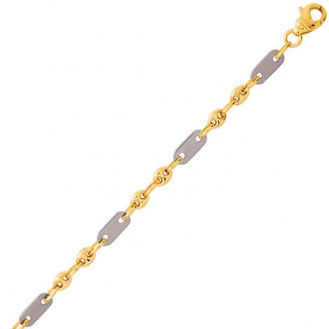 Bracelet en or Grain de Café bicolore 4mm - 6.35g Susanna