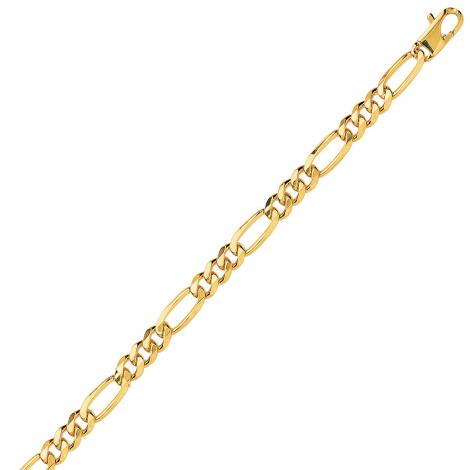 Bracelet en or jaune maille Alternée ultra-plate 5mm - 9.1g Rhodia
