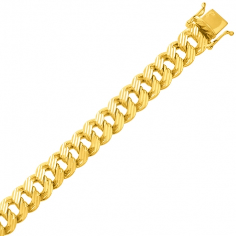 Bracelet en or maille Gourmette 10mm - 37.35g Splendeur