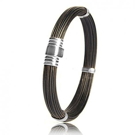 - Bracelet en Poils d'éléphant et or 12g - 8 mm Mary - 702ELORblanc