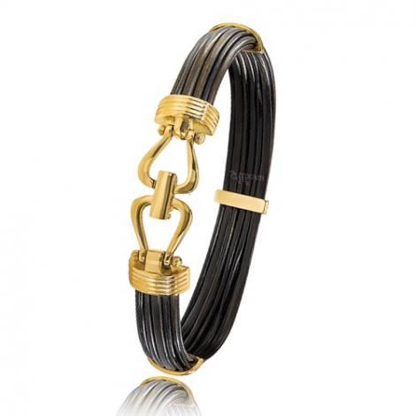 - Bracelet en Poils d'éléphant et or 13.5g - 9 mm Jessica - 730ELORjaune