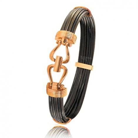 - Bracelet en Poils d'éléphant et or 13.5g - 9 mm Margot - 730ELORrose