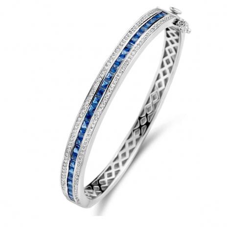 Bracelet esclave en argent serti de zirconium+saphir synthétique Naiomy Silver - Femme - Katherine - N1B54
