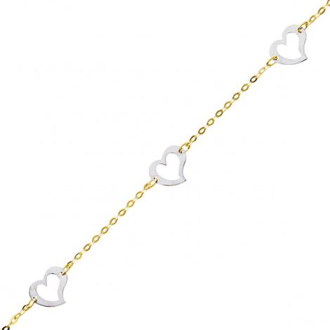 Bracelet fantaisie 2 ors motif coeur - 0.9g Alisa