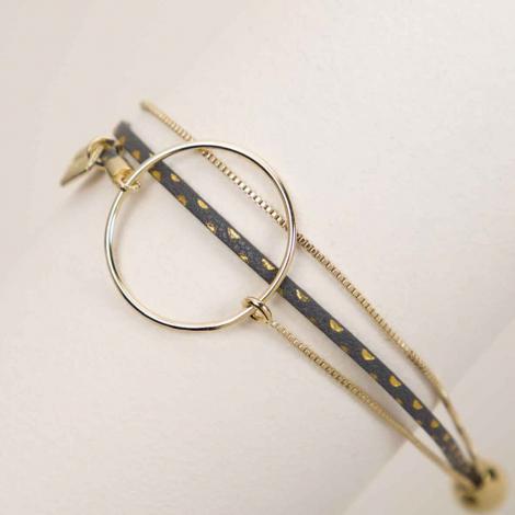 Bracelet FlowersForZoé- Nolah Pois Gris FD Rosaria