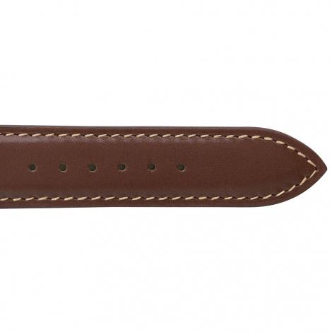 Bracelet Montre Veau Sellier Marron Clair Surpiqure Ecru - Homme - Coralie - 18101E-35