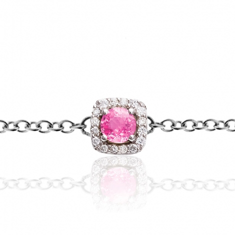 Bracelet One More saphir rose et diamants  0.11 ct - Salina -047571XA