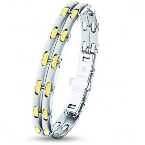 Bracelet pequignet Acier et Or 2 rangs  10 mm - 0580038