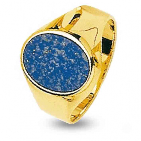 Chevalière Lapis Lazuli Or Jaune   5.78 g Rose