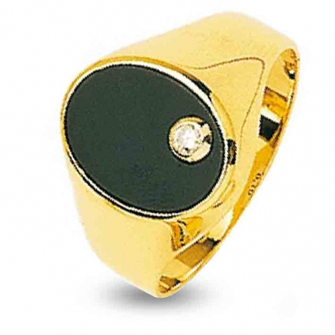 Chevalière Onix Or Jaune diamant  5.7 g Kalima