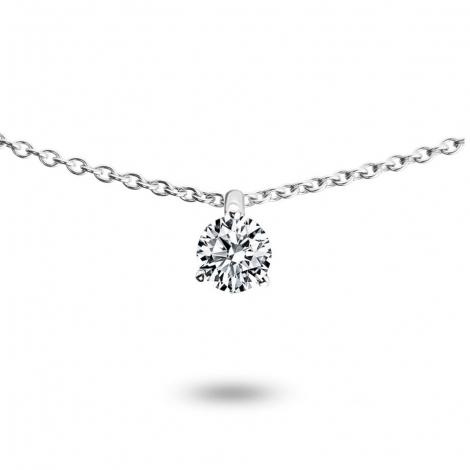 Collier diamant 0.10 ct Or Blanc 1.2g Ivanna