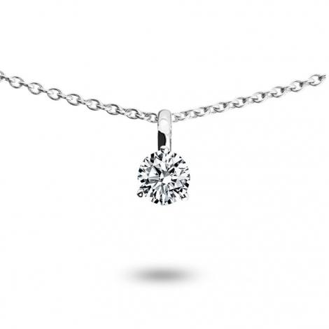 Collier diamant 0.10 ct Or Blanc 1.2g Lorelei