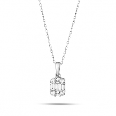 Collier diamant 0.10 ct Or Blanc 1.5g