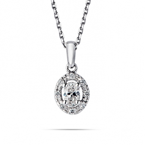 Collier diamant 0.10 ct Or Blanc 1.6g