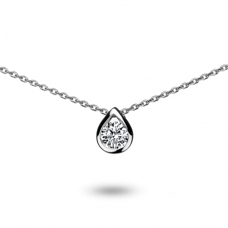 Collier diamant 0.10 ct Or Blanc 1.7g Cocoon