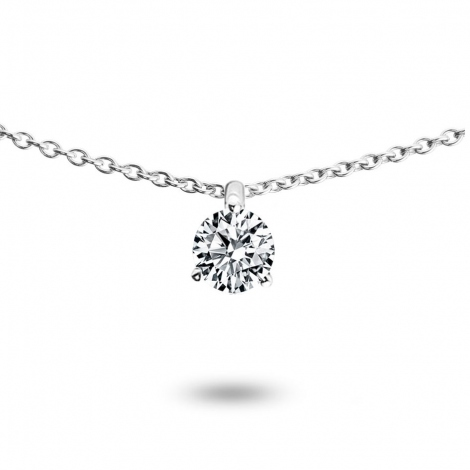 Collier diamant 0.15 ct Or Blanc 1.2g Mona