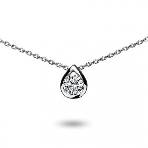 Collier diamant 0.15 ct Or Blanc 1.9g Alexandra