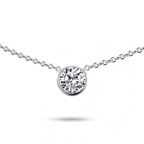 Collier diamant 0.15 ct Or Blanc 3.3g Debora