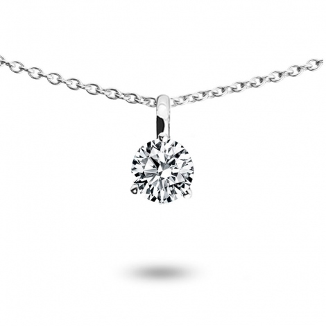 Collier diamant 0.20 ct Or Blanc 1.2g Rose